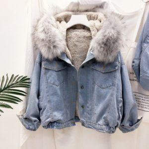 Thick Fur Collar Denim Female Jacket
