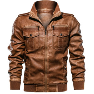 Men PU Jacket Fitness Leather