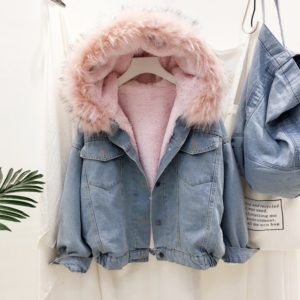 Thick Fur Collar Denim Female Jacket